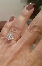 3 ct Pear Solitaire 14k Yellow Gold man made Diamond Wedding Engagement Ring
