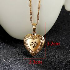 Allah Unique 24K Yellow Real Gold Solid GF Muslim Heart Open Heart Pendant Chain