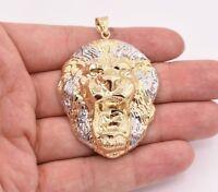 "2 1/2"" Men's Diamond Cut Roaring Lion Head Charm Pendant Real 10K Gold Two-Tone"