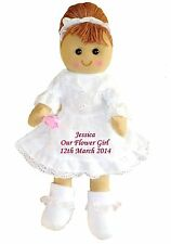 More details for personalised rag doll bridesmaid flower girl wedding favour embroidered gift