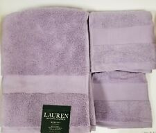 RALPH LAUREN WESCOTT 3 PC DUCHESS LILAC,PURPLE COTTON BATH,HAND TOWEL,WASH CLOTH