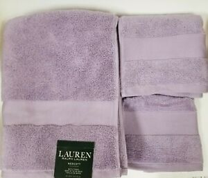 RALPH LAUREN WESCOTT 3 PC DUCHESS LILAC,PURPLE COTTON BATH,HAND TOWEL,WASH CLOTH