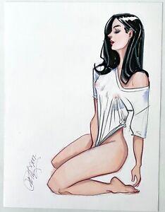 Sensual Brunette Blouse! Original Color Art Drawing by Raul Valenzuela 9x12 2017
