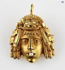 1850 Charming 18K Yellow Gold Rose Cut Diamond Pendant/Brooch 15.60 Grams