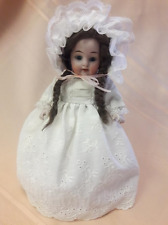 """8"""" Antique All Bisque Doll,Kestner """"Prize Baby"""" # 208 Glass Eyes Mohair Wig-1880"""