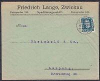 DR Mi Nr. 368 EF Firmen Brief, Zwickau Speditionsgeschäft - Leipzig 1924