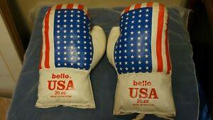 Vintage 1970's Bello USA 20oz Boxing Gloves w/ American Flag design