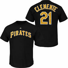 Roberto Clemente #21 Pittsburgh Pirates Majestic Men's Name & Number T-Shirt