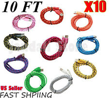 10X LOT BRAIDED 10FT Cable Charging Cord compatible with  iPhone 6 Plus 5 5S 5C