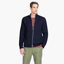 J. Crew Knit cotton funnelneck zip-up sweater-jacket Navy Size Large
