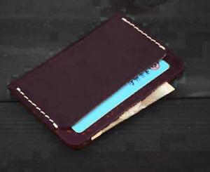 men women wallet purse cow Leather name Card Case holder pocket bag purple 053