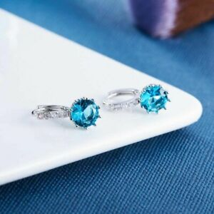 New Silver 10mm Round Blue Topaz CZ w/ Crystal Accents Hoop Dangle Earrings