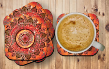 Mandala Orange Drink Coasters x 6 Non fading
