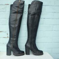 FAITH Leather Boots Size Uk 3 Eur 36 Womens Sexy Thigh High Pull on Black Boots