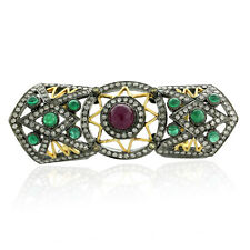 3.8ct Emerald Ruby Diamond 18k Gold Sterling Silver Full Finger Ring Jewellery