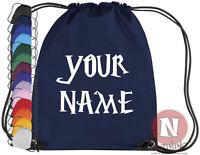 Personalised Harry Potter font kit bag. Drawstring PE school add child's name