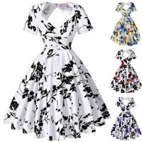 Womens Vintage Hollowed Back Swing 50s 60s Retro Pinup Picnic Party A-line Dress