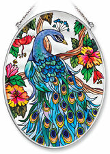 """AMIA STAINED GLASS SUNCATCHER 5.5"""" X 7"""" OVAL PEACOCK  #8250"""