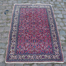 Pink Handmade Shabby Chic Vintage Traditional Oriental Wool Rug 132x90cm