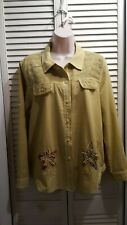 Blouse Shirt Jacket Green Cotton Long Sleeve Flowers Size L