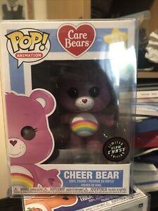 "CARE BEARS CHASE GLOW CHEER BEAR 3.75"" POP VINYL FIGURE FUNKO 351 POP"