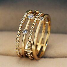 White Sapphire Wedding Rings Sz 6 Elegant 18k Yellow Gold Plated Rings Women