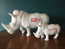 "RARE RHINO STATUE, MARC ECKO STORE DISPLAY, LARGE 23"" LONG, WHITE / RED LOGO"