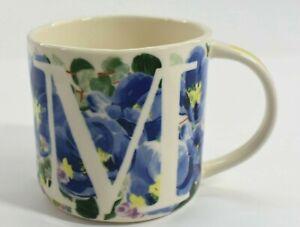 """Anthropologie Home Floral """"M"""" Monogram Mug Dishwasher & Microwave Safe 4.5x3x3"""
