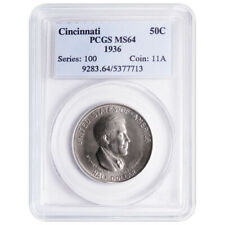 1936 50c Cincinnati Musical Center Commemorative Silver Half Dollar PCGS MS64