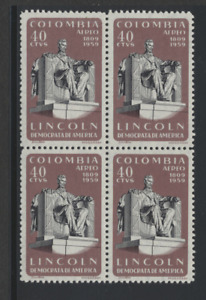Colombia 1959 Lincoln Birth Anniv  block w/ 'Coiombia' variety on top stamps