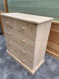 Solid Pine chest drawers in various sizes T&G  bases natural clear oil finish