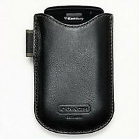 NWT COACH Black Phone Sleeve Leather Case Card Holder Wallet ID Purse Bag NEW