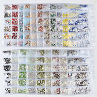 1728 Pcs Nail Art Rhinestones Glitter Crystal Gems Tips Flat Back 3D Decoration