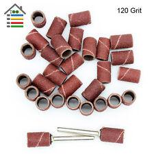 "100pc 1/4"" 120Grit Drum Nail Sanding Kit Rubber Mandrels Fit Dremel Rotary Tools"