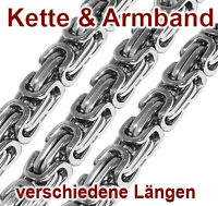 Königskette Set Armband Herren Panzerkette Herrenkette Edelstahl silber silbern