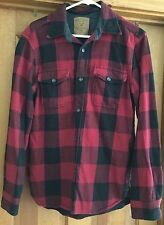 AMERICAN EAGLE MENS HEAVY WEIGHT RED/BLACK CHECK BUTTON DOWN SHIRT SIZE M EUC!