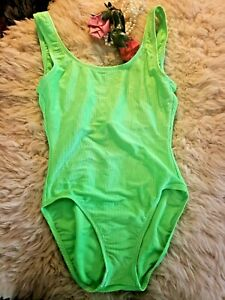 Vintage Jazzercise Authentic Green Tie Dye Halter Bodysuit size small Medium