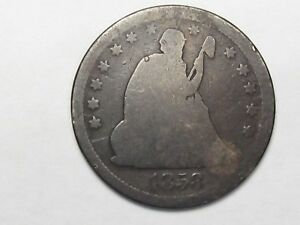 1858 Silver US Seated Liberty Quarter. #46
