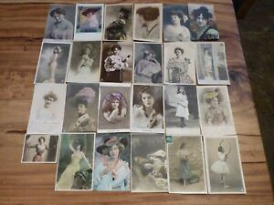 EXCELLENT JOB LOT OF 24 ANTIQUE EDWARDIAN C-1906 COLOR POST CARDS WITH STAMPS