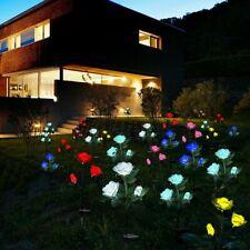 LED Lichterkette Solar Rose Blumen Außenbeleuchtung Garten Licht Party Deko DE