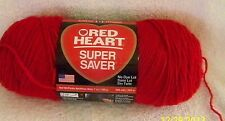 Red Heart Super Saver CHERRY RED 7 oz 100% Acrylic Worst Wt #4.No Dye Lot