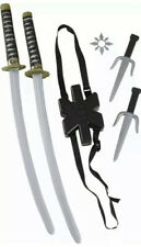 Japanese Samurai Black Ninja Double Toy Sword Costume Accessory Kit Halloween