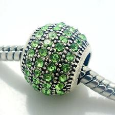 2pcs 925 Silver CZ  European Charm Spacer Beads Fit  Necklace Bracelet Chain DIY