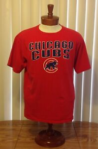 Chicago Cubs Distressed Look Logo T Shirt Red Walking Cub Large
