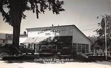 BENDON, BENZIE CTY, MI, CHERRYLAND INN & RESTAURANT, CARS REAL PHOTO PC c 1950's