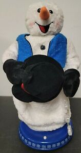 Vtg Gemmy Snowman Miser Animated Christmas Musical Snowflake Spinning