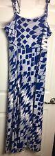 New Chicos Sz 3 (XL) Blue White Diamond Cora Sleeveless Maxi Long Stretch Dress