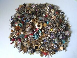 100+++ VINTAGE RHINESTONE & MORE SINGLE EARRING CRAFT LOT (4.6 pounds)A