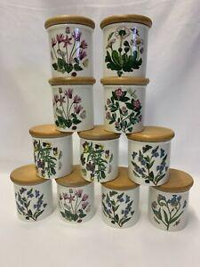 Vintage 1972 11 Portmeirion Botanic Garden Ceramic  Spice/Herb Jars With Lids