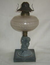 ANTIQUE  SATIN EAPG CIRCLE PATTERN OIL LAMP ~ CHERUB PUTTI & LAMB FIGURAL STEM